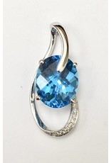 2.98ct Topaz & Diamond Pendant 14KW
