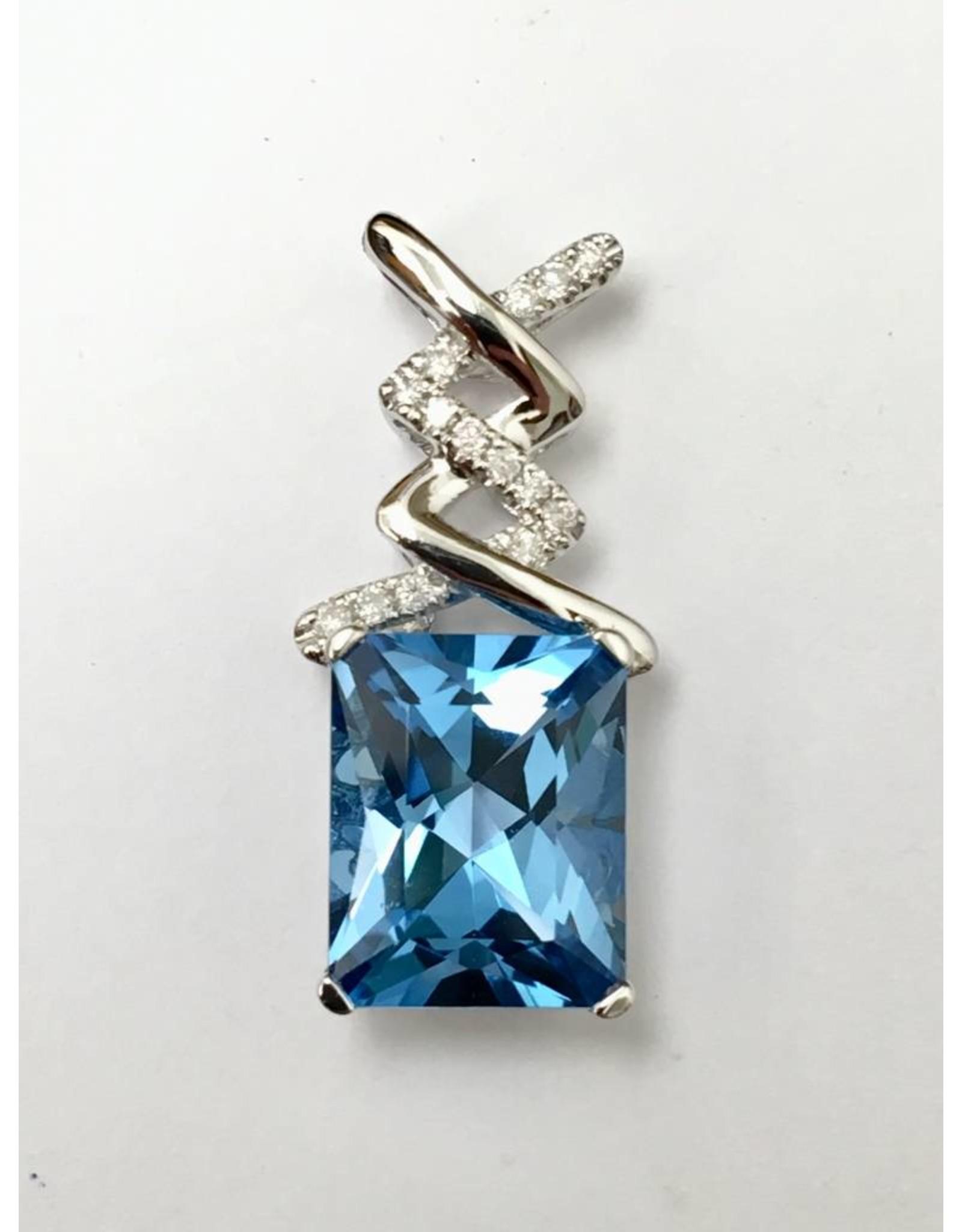 3.83ct Topaz & Diamond Pendant 14KW