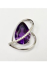 3.04ct Amethyst & Diamond Pendant 14KW