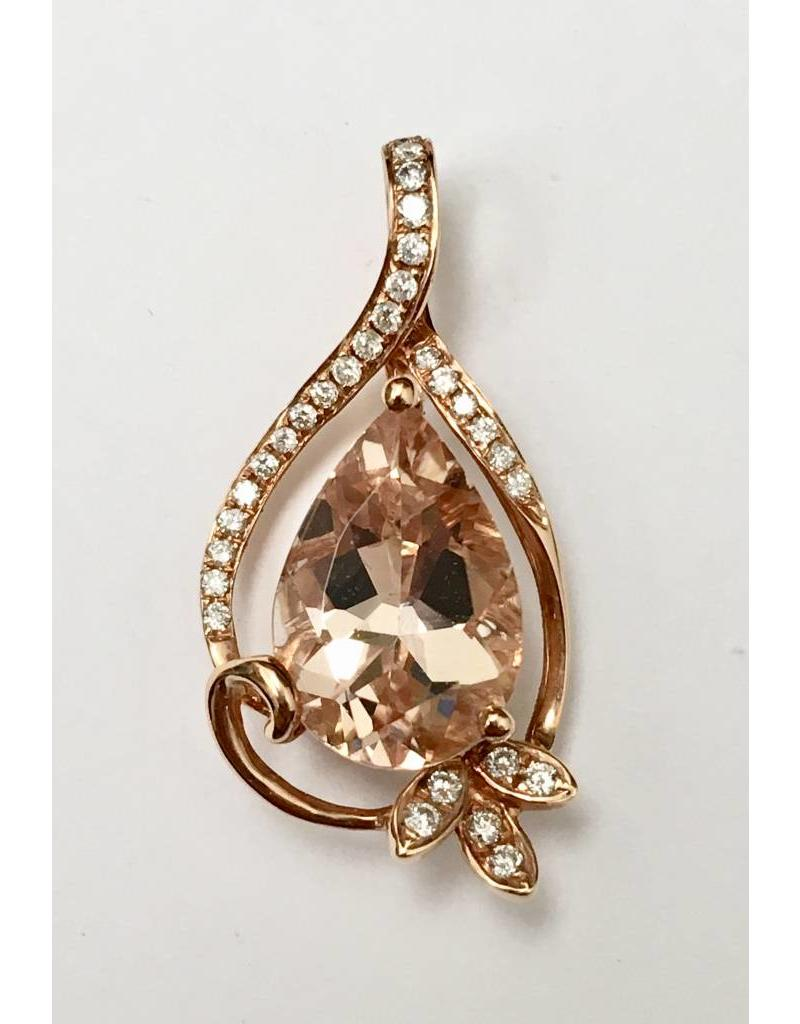 2.66ct Morganite & Diamond Pendant 14KR