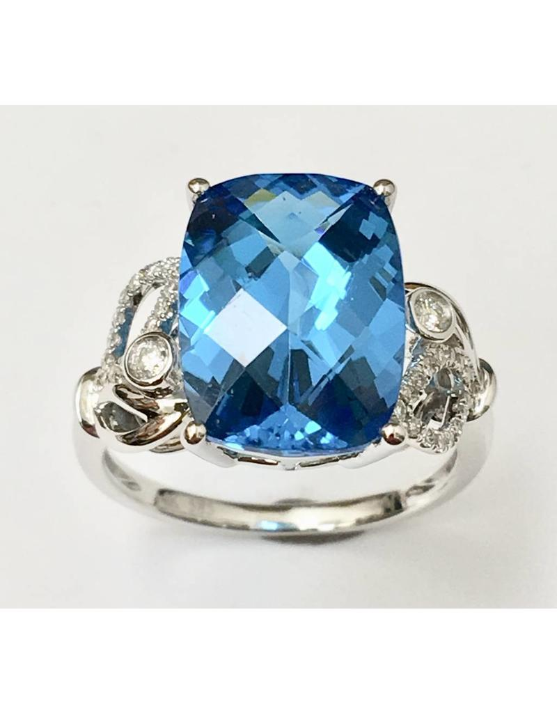 7.14ct Topaz & Diamond Ring 14KW
