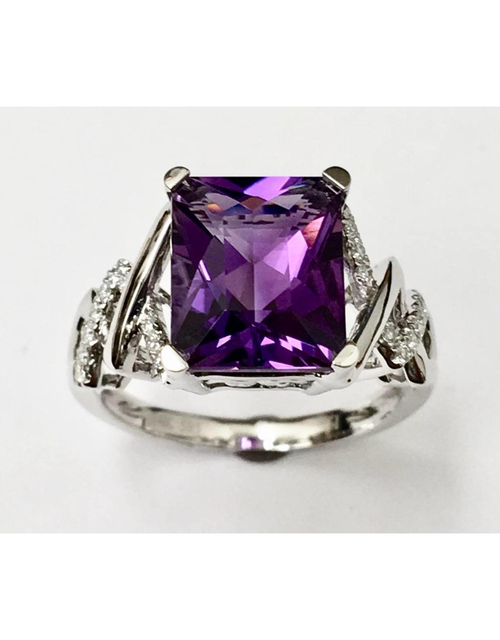 4.15ct Amethyst & Diamond Ring 14KW