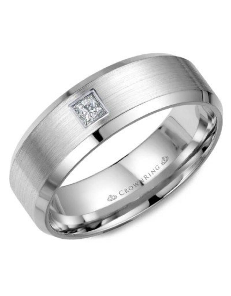 Crown Ring Princess Diamond Sandpaper/Polished Ring 10KW