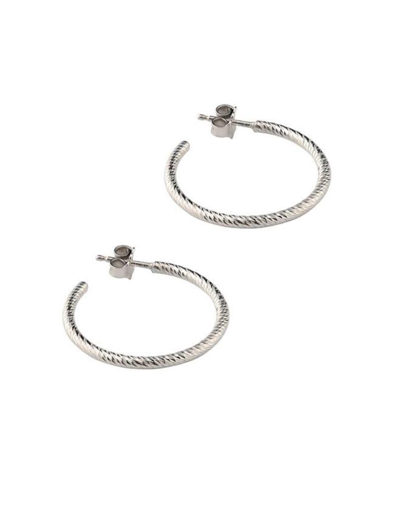 """Frederic Duclos Sparkle Hoop Earrings (1"""") SS"""