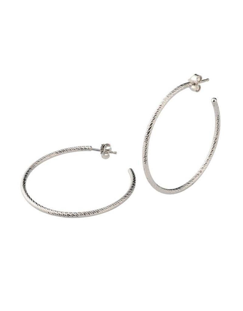 """Frederic Duclos Sparkle Hoop Earrings (1 3/4"""") SS"""