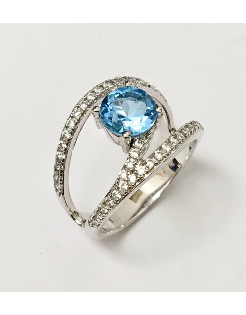 Blue & White CZ Ring SS