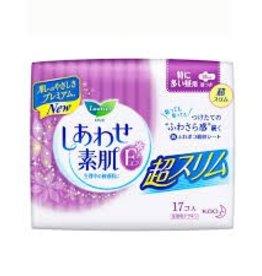 Kao 花王 花王乐而雅生理敏感肌素肌f系列卫生巾夜用护翼型 超薄 25cm 17枚