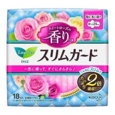Kao 花王 花王樂而雅零觸感量多夜用衛生巾 25cm 甜玫瑰香18枚