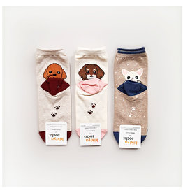 Kikiya 动物园合集 可爱小狗长袜 白色(中间) 一双