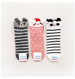 Kikiya 动物园合集 小熊长袜 黑底白条纹(左一) 一双