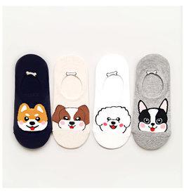 Kikiya 动物园合集 可爱小狗短袜 米色(左二) 一双