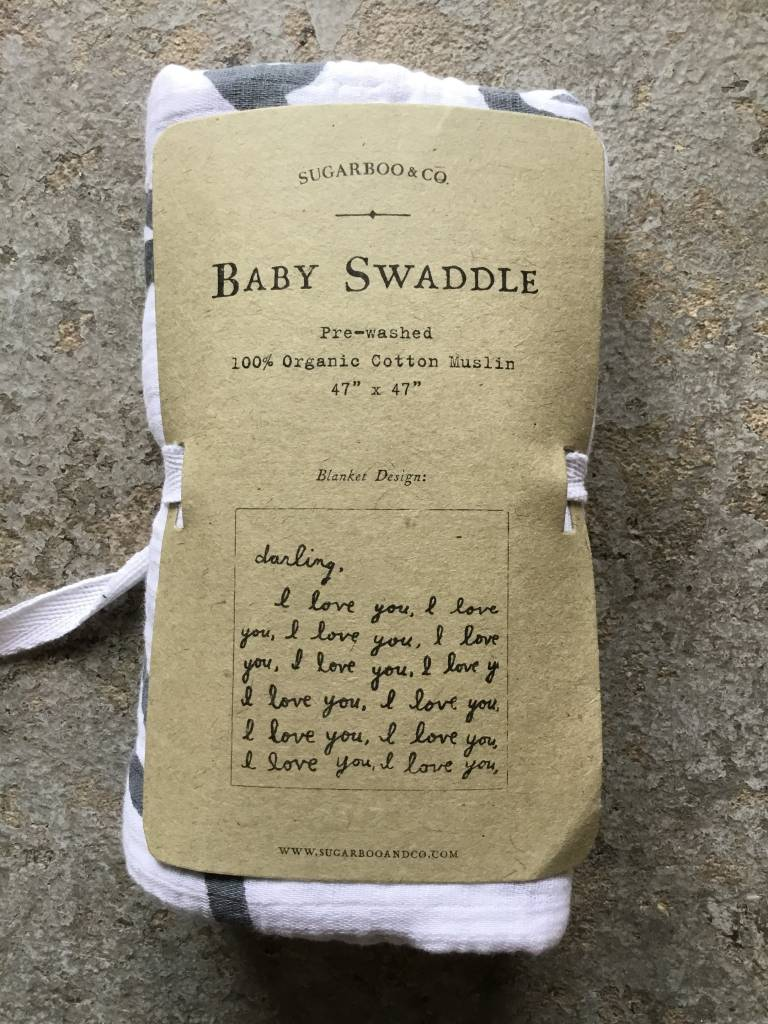 """Sugarboo Swaddle Blanket """"Letter For You"""""""