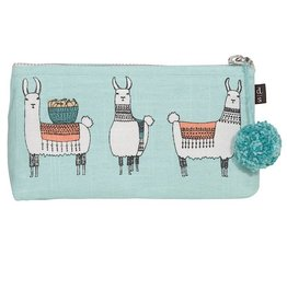 Now Designs Cosmetic Pencil Linen Bag Llamarama Lama