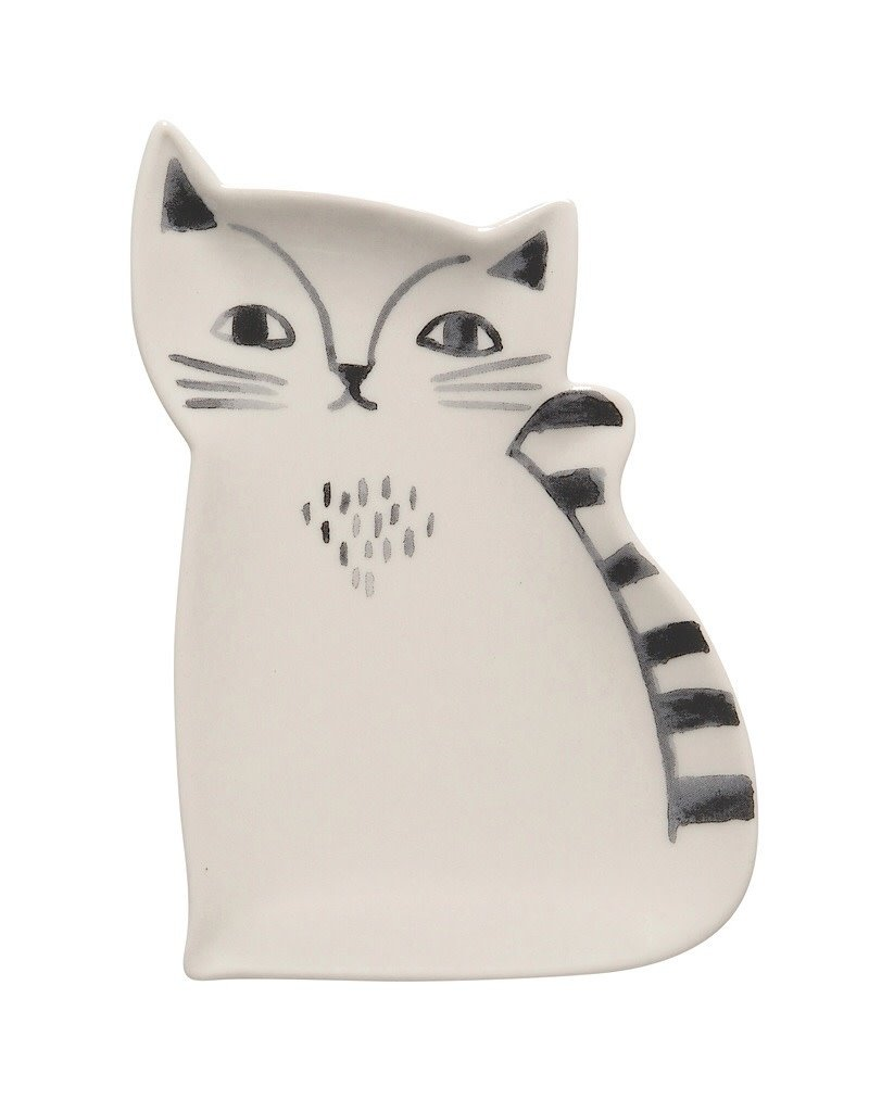 Now Designs 7001597 Trinket Tray Ceramic Cat