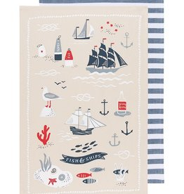 Now Designs Tea Towel 2 Fish & Ships