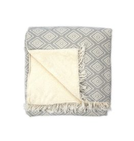 Fleece LIned Throw Pyramid Light Grey