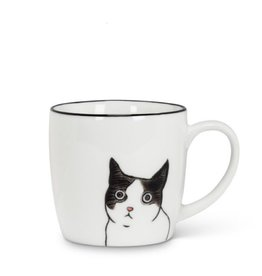 Black White Peering Cat Mug Felix