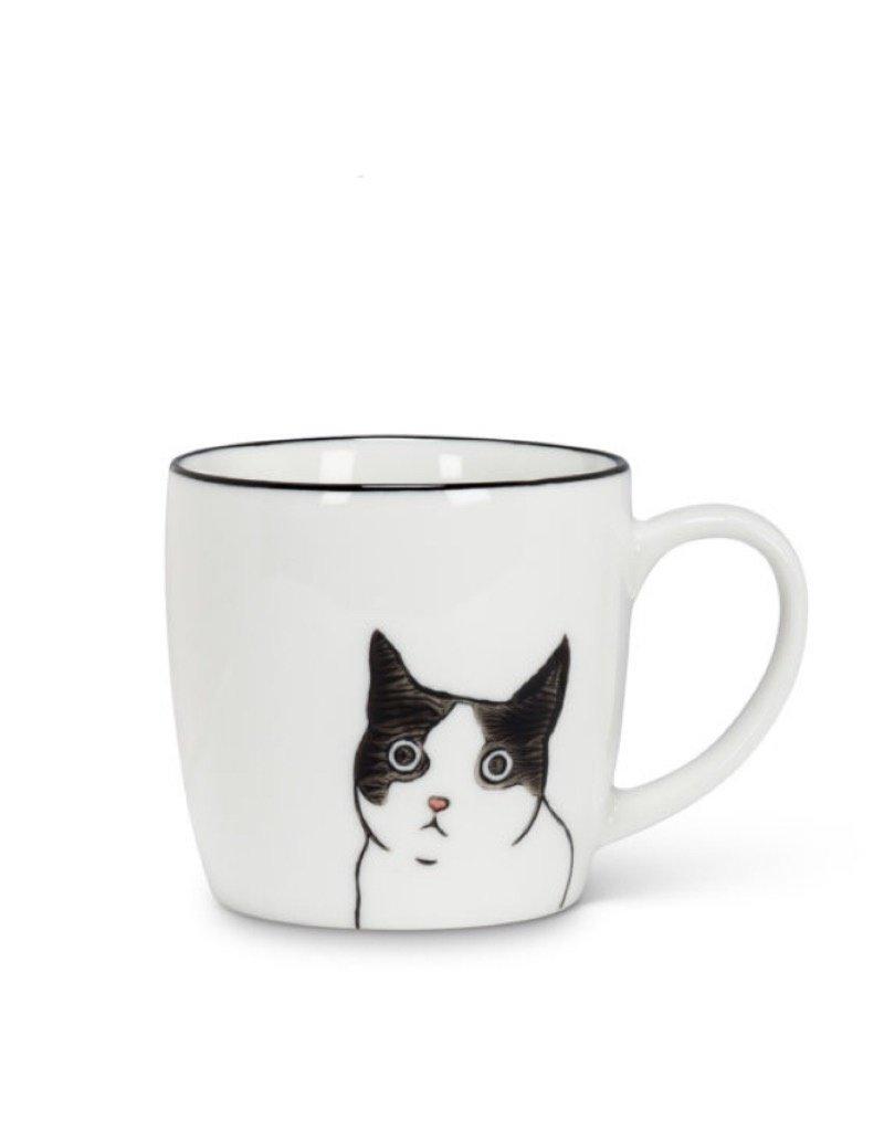 27-felix Black White Peering Cat Mug Felix