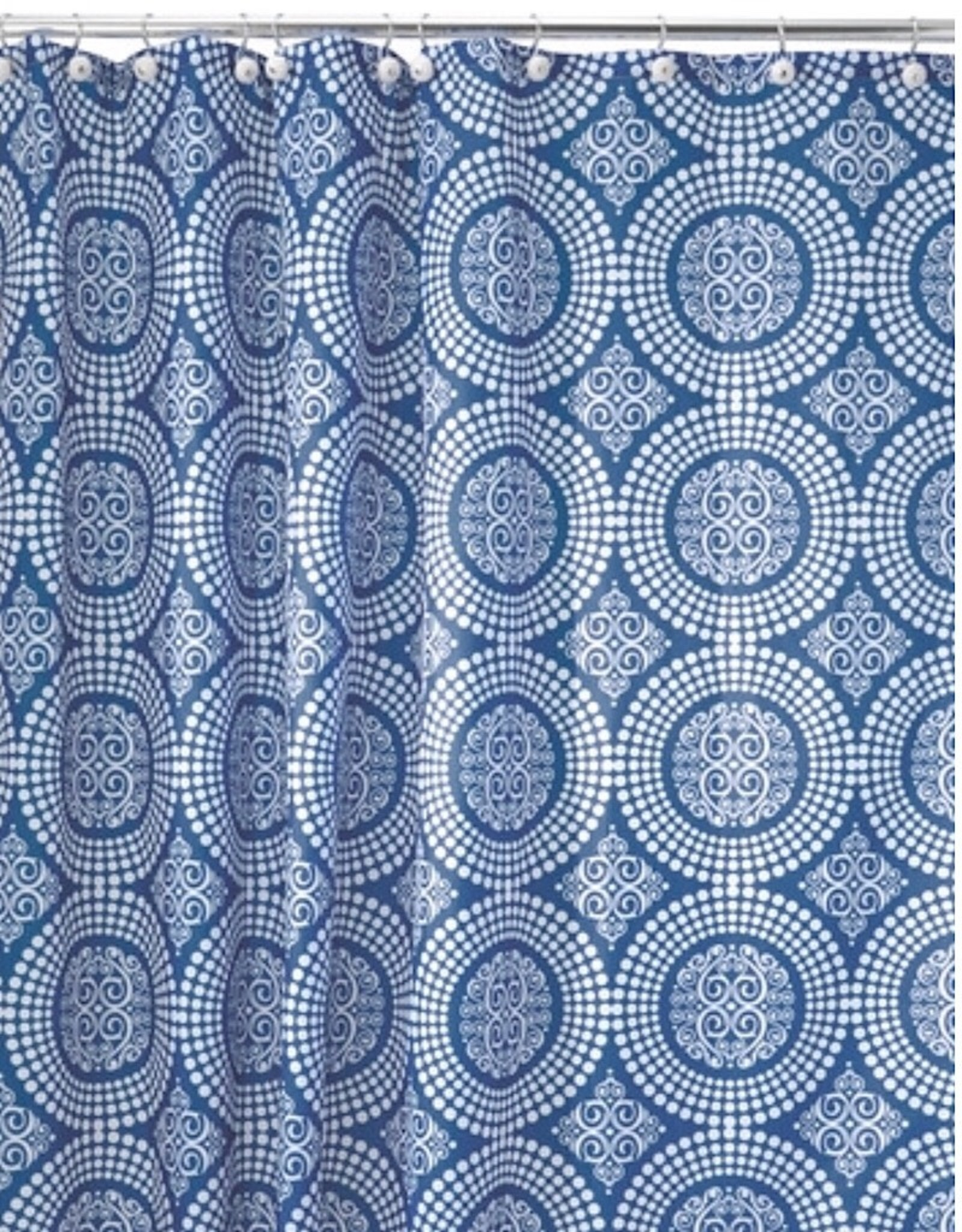 41320 Shower Curtain Medallion SC White and Blue
