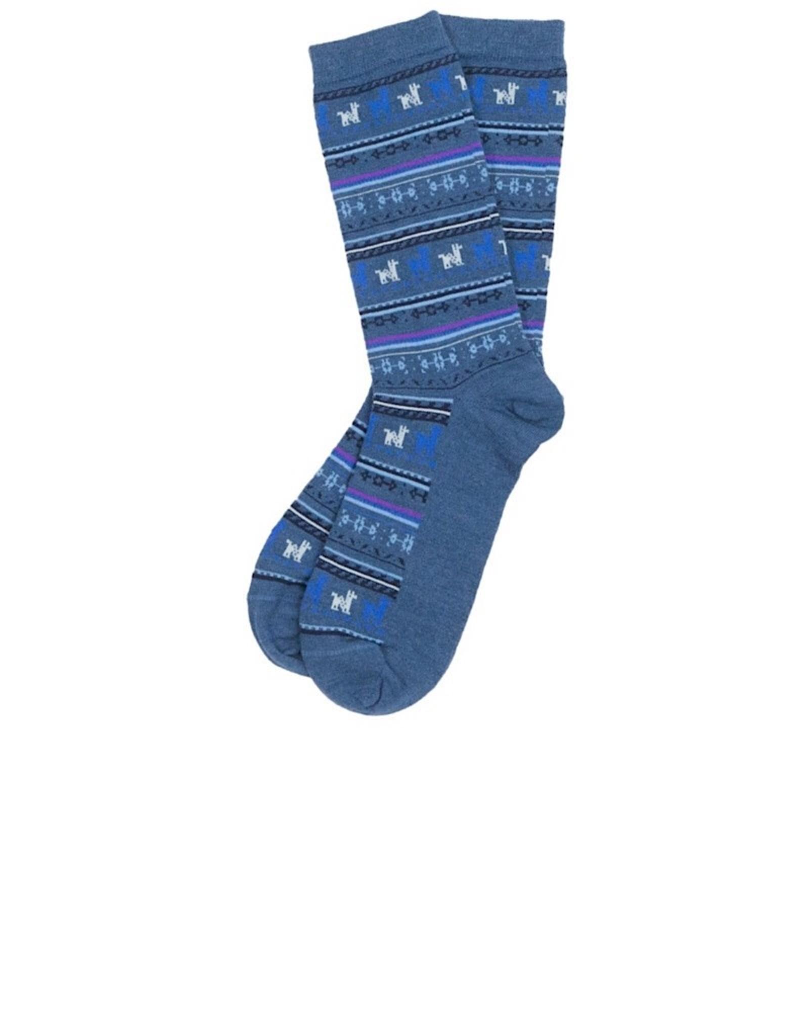 Alpaca Print Socks Demin Small Medium