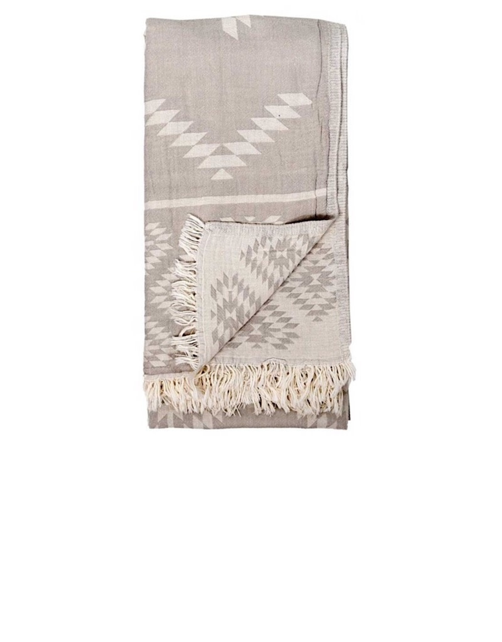 TTGE4 Turkish Towel Geometric Pebble Grey