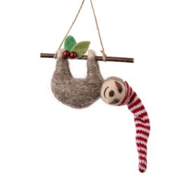 27-MERINO-016 Sloth on Branch Ornament