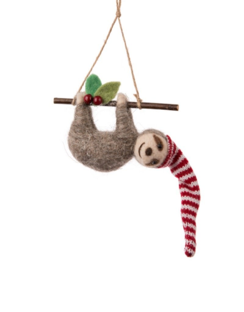 27-MERINO-016 Sloth on Branch Ornament