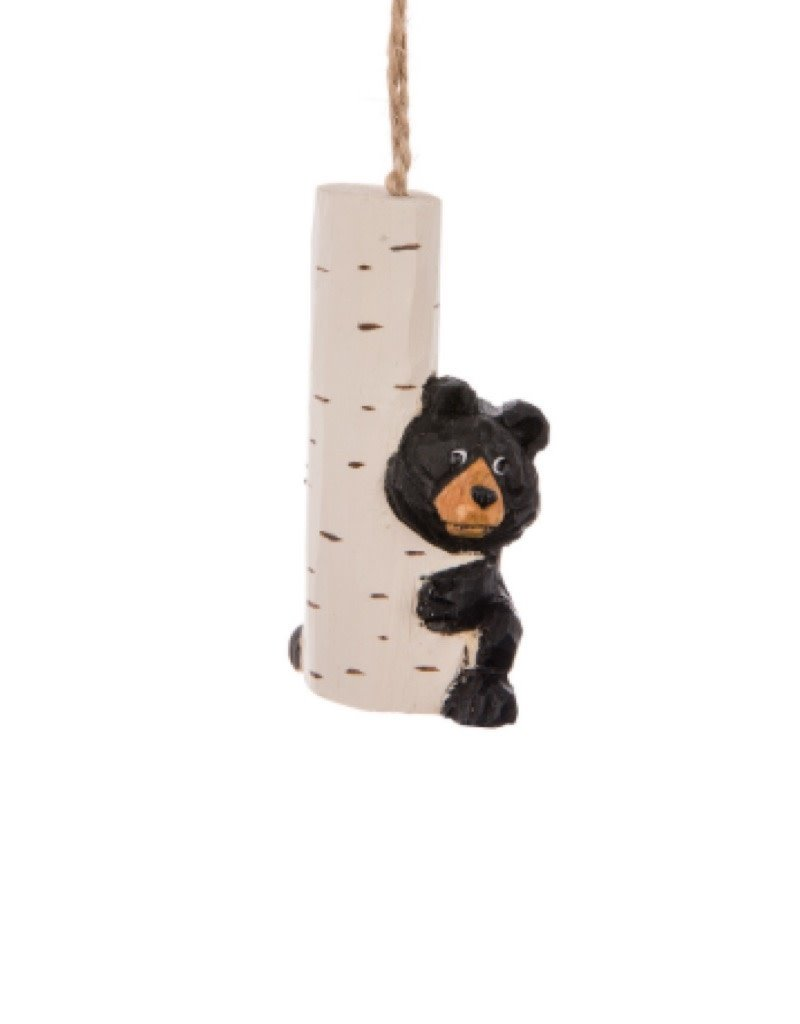 27-WINTER-8175 Black Bear With Birch Ornament 3.5""