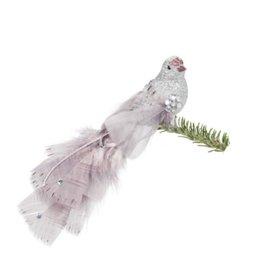 27-ELEGANCE Silver Bird Clip White Feathers