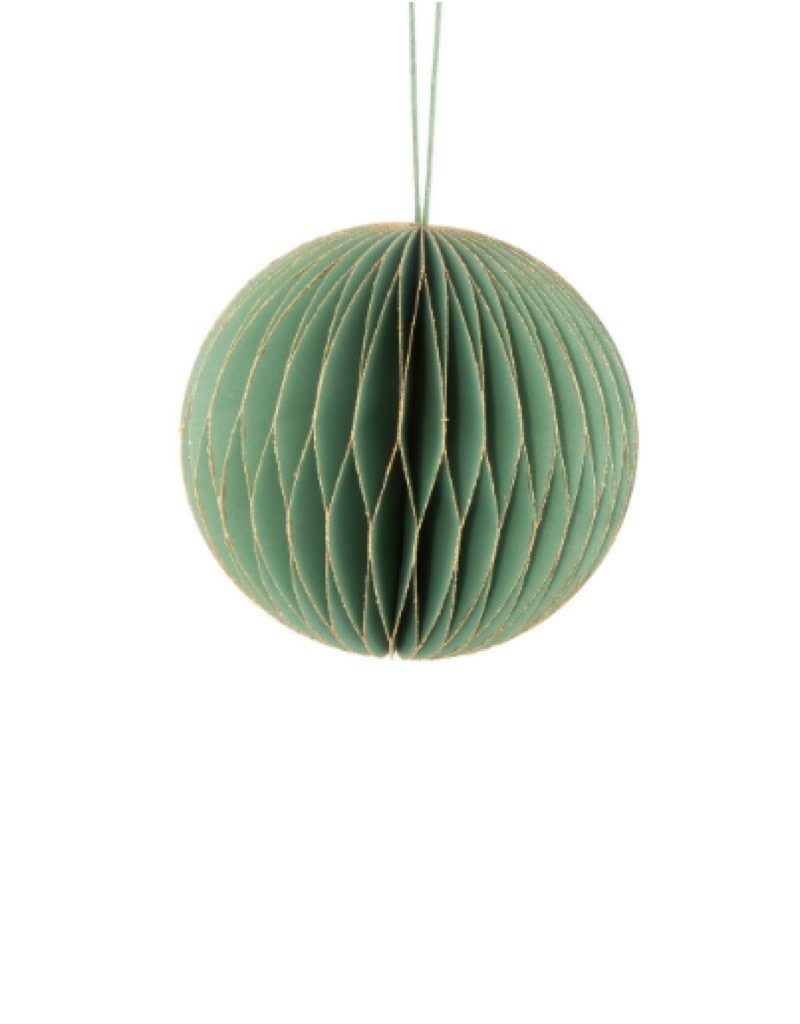 "33-PALACE-109-GRN Folding Ball Ornament Green 3.5""D"