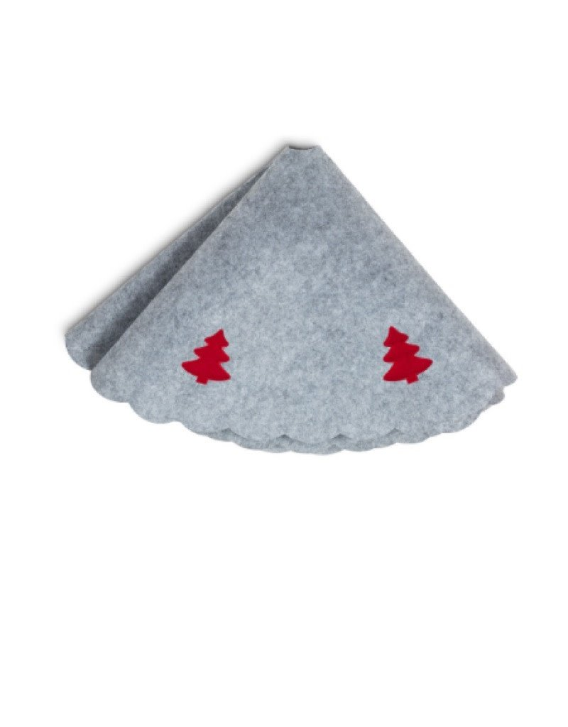 Grey Tree Skirt With Red Tree 39""