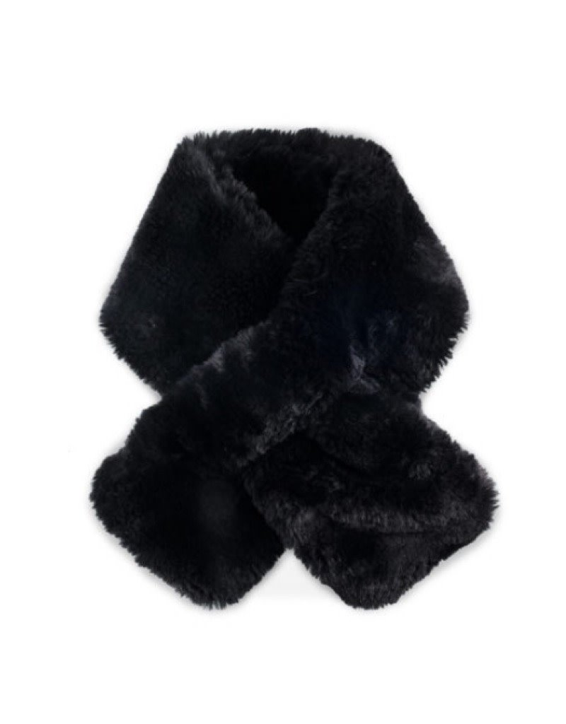 Faux Fur Pull Thru Scarf Black