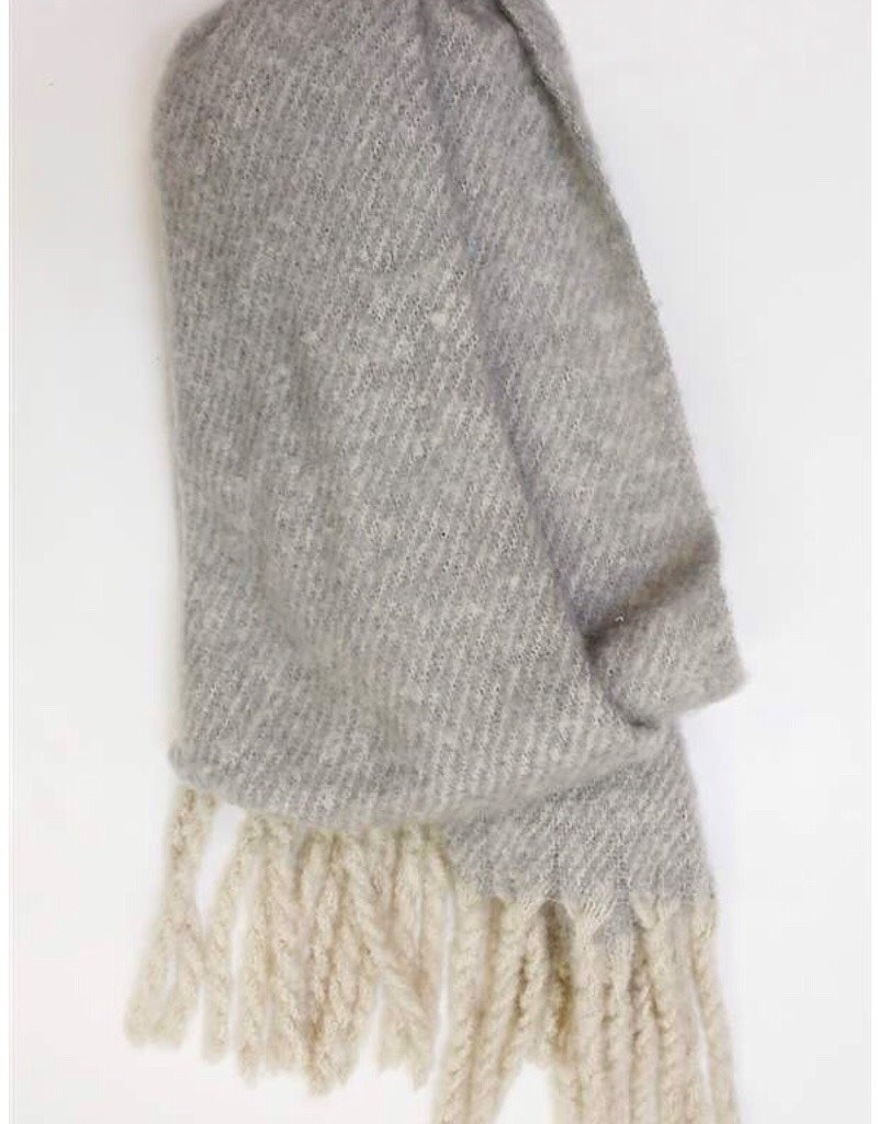 Gray Scarf with fringe