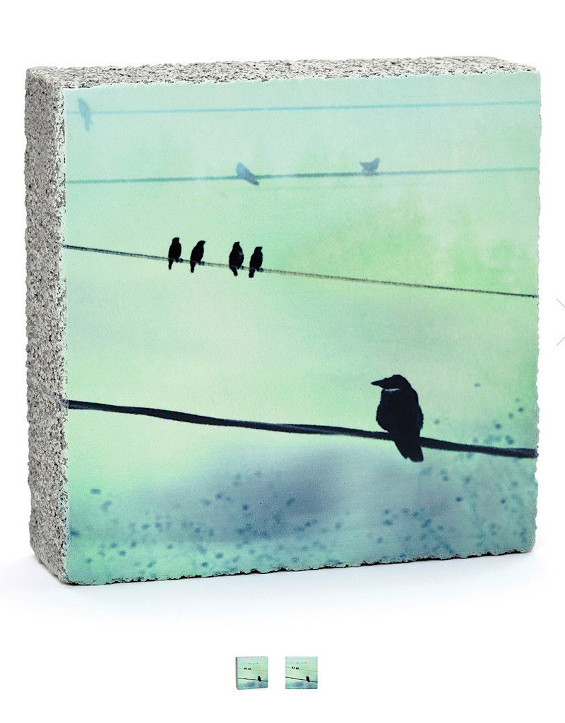 Cedar Mountain Small Art Block Crows on Wire
