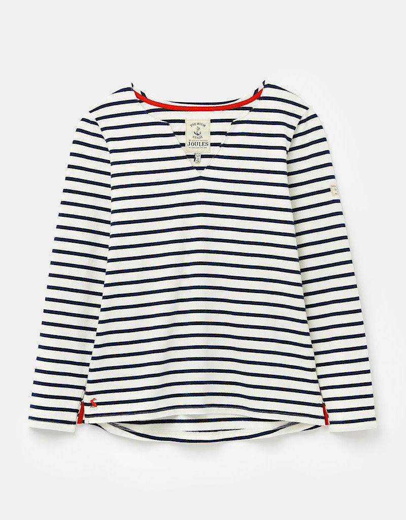 Joules Harbour Notch Neck Stripe Jersey Top Spring 2020