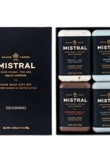 Mistral Mens 4 soap gift set Wood and Spirits