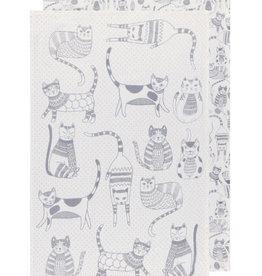 Now Designs Tea Towel Purr Party London Gray Set of 2