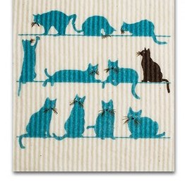 Swedish Dishcloth Lots of Cats