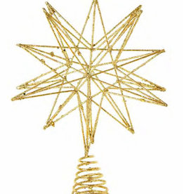 Silver Glittered Metal Tree Topper 3D Star, 9 In