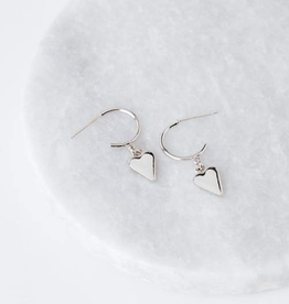 EVERLY HEART HOOP EARRINGS - SILVER