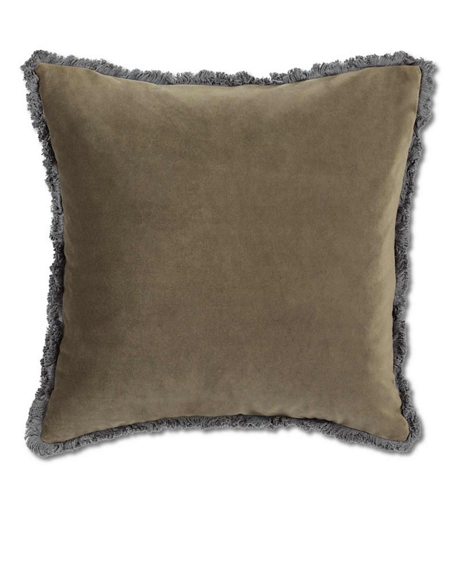 Velvet Pillow with Fringe Moss Green 18¨ square