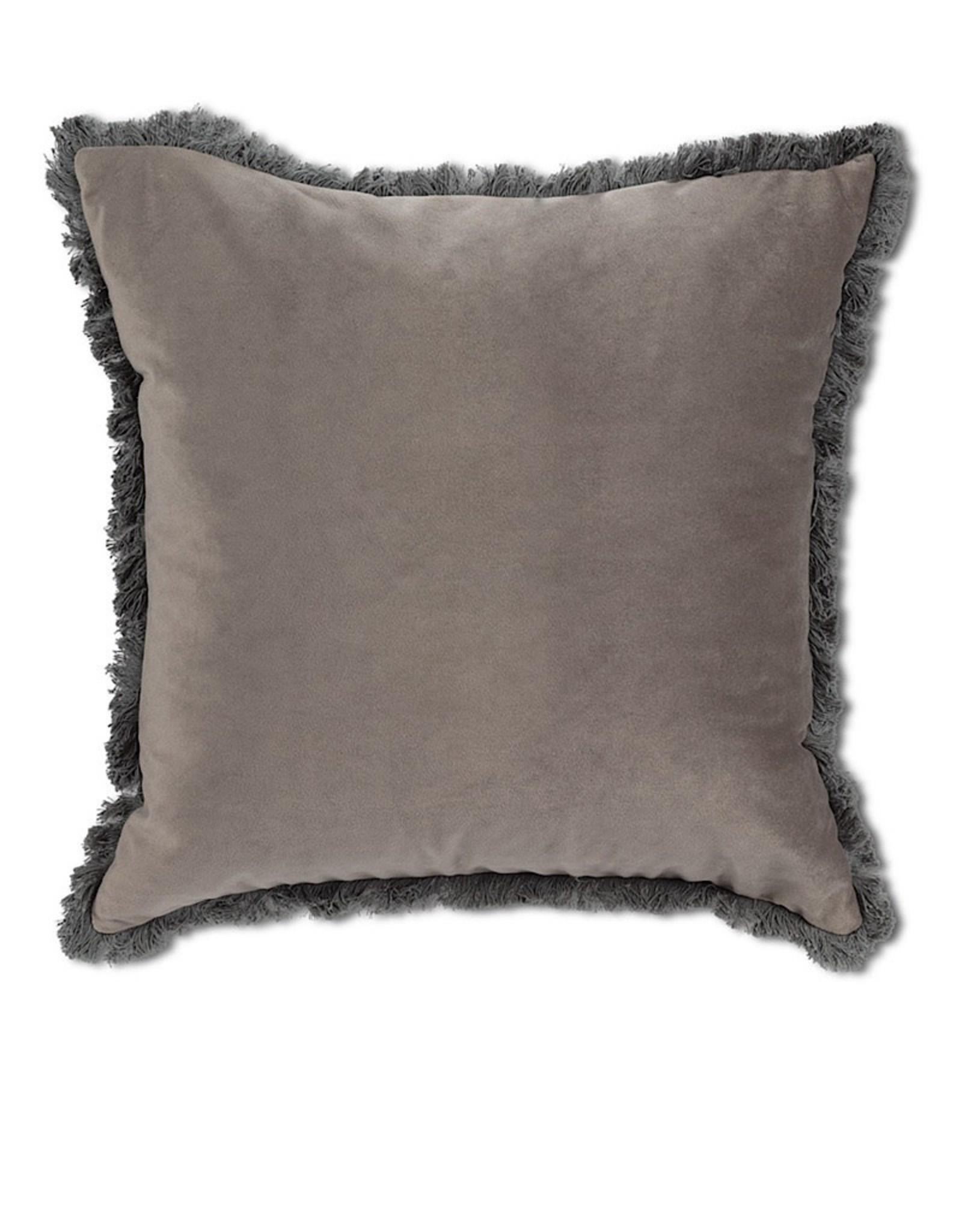 Velvet Pillow with Fringe Light Gray 18¨ square