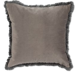 Velvet Pillow with Fringe Light Gray 18¨ square