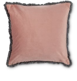 Velvet Pillow with Fringe Rose Pink 18ˆ square