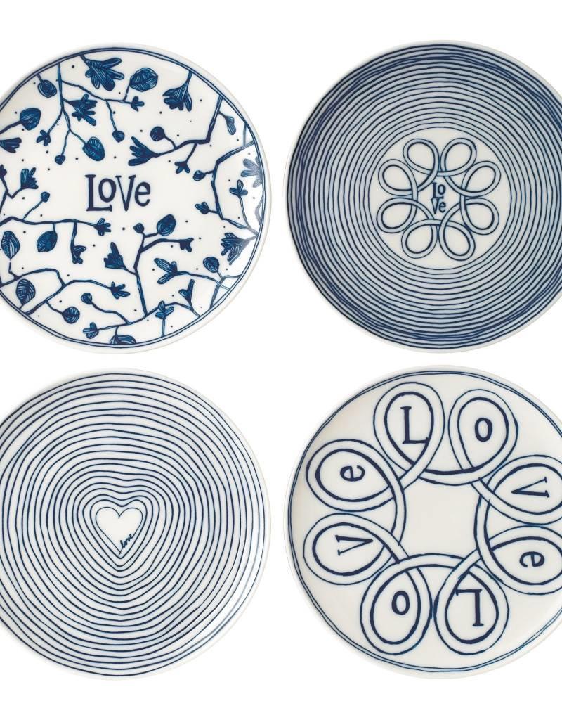 "Royal Doulton ED Plates Blue love 6"" set/4 mixed"