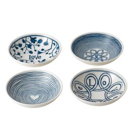 "Royal Doulton ED Blue Love Bowl 5.5"" set/4 mixed"