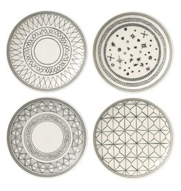 "Royal Doulton ED Plates Charcoal Grey 8"" set/4 mixed"