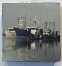 Cedar Mountain Small Art Block Steveston Blue Boats