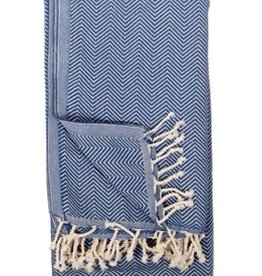 TTHE4 Turkish Towel  Herringbone Azul