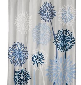 Shower Curtain Zinnia Floral  Gray Blue